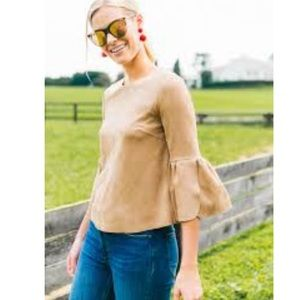 Do+be camel bell sleeve crop